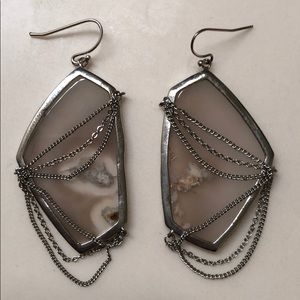 Kendra Scott Kavita Earrings in Gray Agate Silver